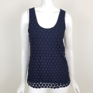J. Crew Navy Blue Tiered Dot Tank Top Size Small
